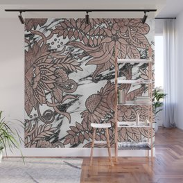 Chic Rose Gold Flowers Leaves and Modern Marble Wall Mural