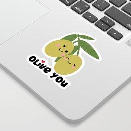 Olive You   I Love You   Valentine's Day Heart Sticker