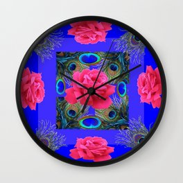 CONTEMPORARY PINK ROSES & PEACOCK FEATHERS BLUE ART Wall Clock