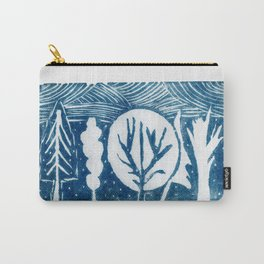 linocut trees print Carry-All Pouch