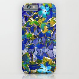 Blue Leaves - Inverted Art iPhone Case