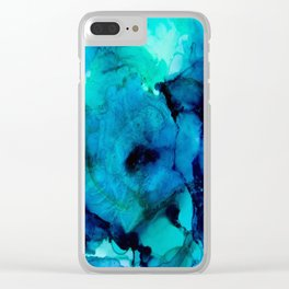 Booming Turquoise Clear iPhone Case