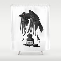 raven Shower Curtains featuring Ink Raven by Freeminds