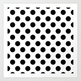 Black and White Medium Polka Dots Art Print