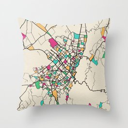 Colorful City Maps: Bogota, Colombia Throw Pillow