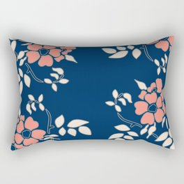 FLORAL IN BLUE AND CORAL Rectangular Pillow