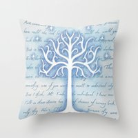 gondor Throw Pillows featuring Tree of Gondor by JadeJonesArt