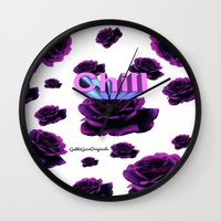 chill Wall Clocks featuring Chill  by Gabbi GOON