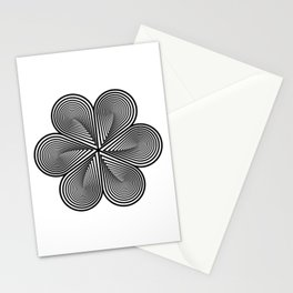 Flower optical illusion design in black and white Stationery Cards