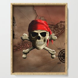 The Jolly Roger Pirate Map Serving Tray