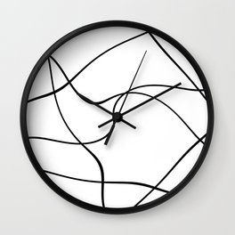 """Abstract lines"" - Black on white Wall Clock"
