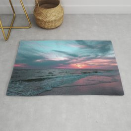 Pink and Teal Beach Sunset tropical vacation Rug