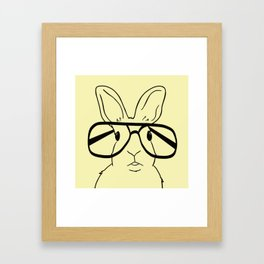 Easter Bunny With Glasses On Yellow Background Framed Art Print