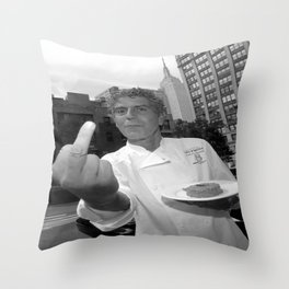 anthony bourdain middle finger Throw Pillow