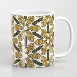 Hand Drawn Yellow Flower & Green Leaves Pattern Coffee Mug