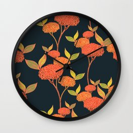 Orange autumn berries. Floral. Wall Clock