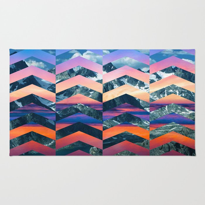 Sunsetting Mountains -Wide Chevrons Rug