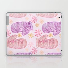 Wintertime pattern knitted mittens Laptop & iPad Skin