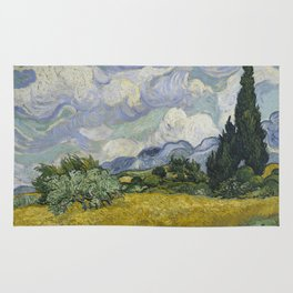 Wheatfield with Cypresses Rug