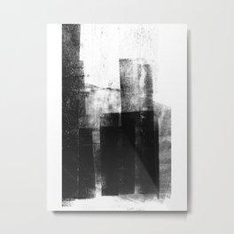 Black White Grey Abstract Monotype Metal Print