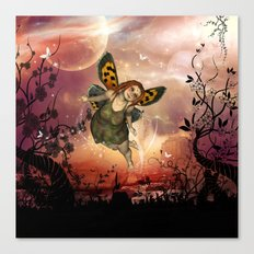 Cute little fairy in the night Canvas Print