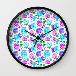 Watercolor Floral Garden in Rainbow Bloom Wall Clock