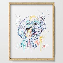 Havanese Colorful Watercolor Pet Portrait Painting Serving Tray