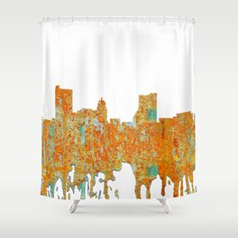 Fort Wayne, Indian Skyline - Rust Shower Curtain