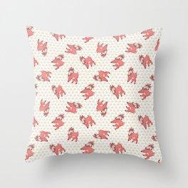 Cute cartoon deer with flower crown. Throw Pillow