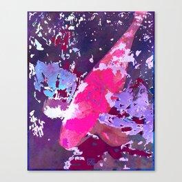Japanese Koi in Pond - Hot Pink Goldfish Watercolor Art Canvas Print