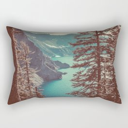 Vintage Blue Crater Lake and Trees - Nature Photography Rectangular Pillow