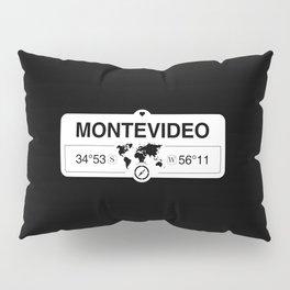 Montevideo Map GPS Coordinates Artwork with Compass Pillow Sham