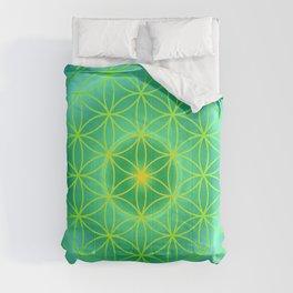 Flower Of Life Mandala - Green Comforters