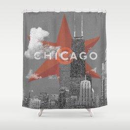 Chicago Lakefront - Grey - Star Shower Curtain
