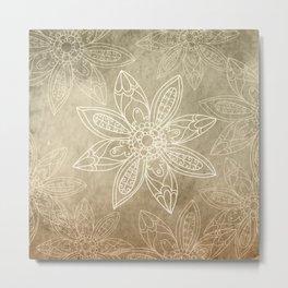 Flower pattern brown Metal Print
