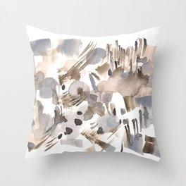 180630 Grey Black Abstract Watercolour Neutral 24 | Watercolor Brush Strokes Throw Pillow