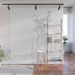 Minimal Line Art Woman with Flowers II Wall Mural