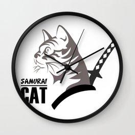 Samurai Cat Wall Clock