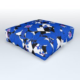 HARLEQUIN AND POINSETTIAS BLACK AND WHITE AND BLUE Outdoor Floor Cushion