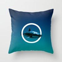 shark Throw Pillows featuring Shark. by POP.