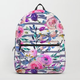 Pink mauve lilac hand painted watercolor roses floral stripes Backpack