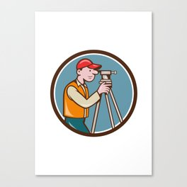 Surveyor Geodetic Engineer Theodolite Circle Cartoon Canvas Print