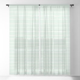 Pastel Mint and White Spring Stripes Sheer Curtain