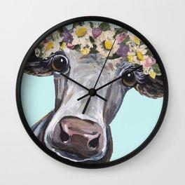 Cow Art Print, Flower Crown Cow Art Wall Clock