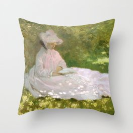 Springtime by Claude Monet Throw Pillow