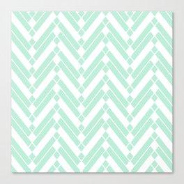 Chevron Herringbone ZigZag pattern - light mint green #Society6 Canvas Print