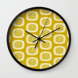 Mid Century Modern Atomic Sunburst Mustard Yellow Wall Clock