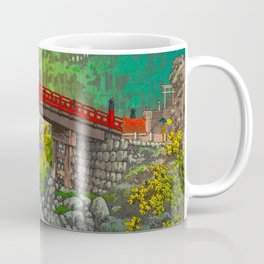 Vintage Japanese Woodblock Print Garden Red Bridge River Rapids Beautiful Green Forest Landscape Coffee Mug