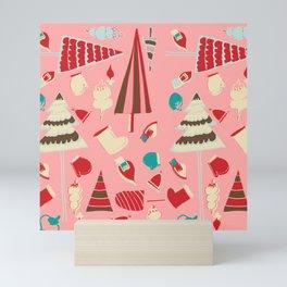 Vintage Christmas Pink Mini Art Print