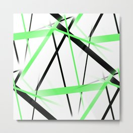 Criss Crossed Lime and Black Stripes on White Metal Print
